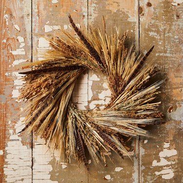 Feather and wheat wreath