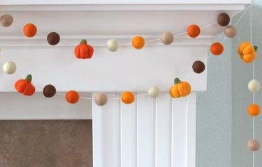 Felted pumpkin garland