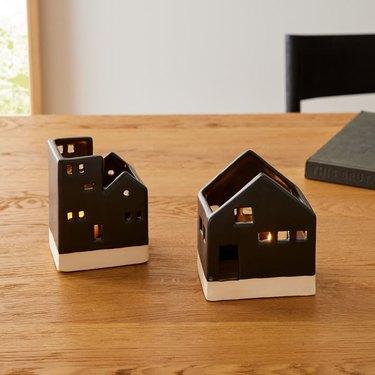 ceramic tea light village