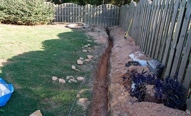 Trench for installation of French drain