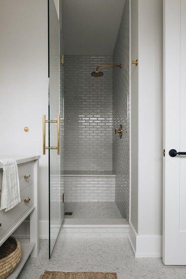 gray tiled walk-in shower