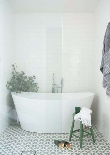 walk-in shower with tub inside