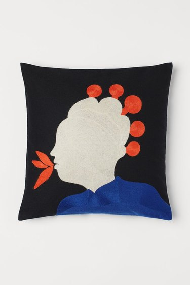 embroidery cushion cover featuring a head