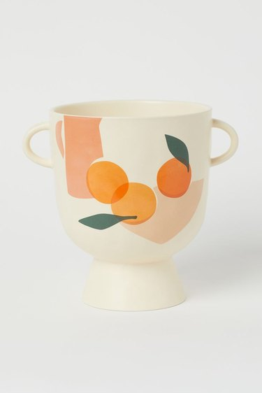 stoneware plant pot with fruit pattern
