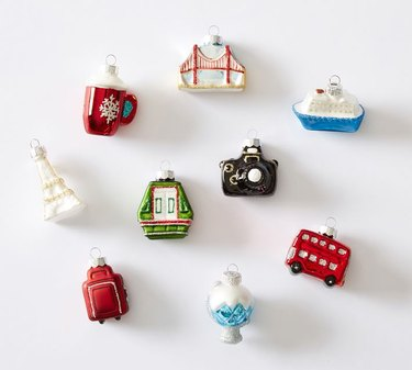 Pottery Barn Mercury Glass Travel Inspired Ornaments