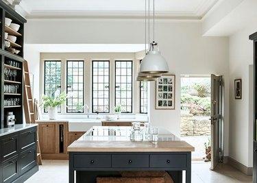 black kitchen countertop cabinet