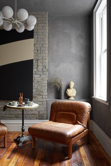 lime washed gray walls