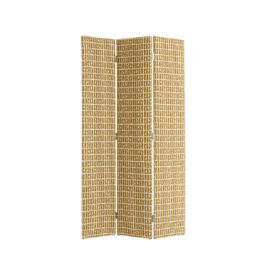 Yellow patterned room divider