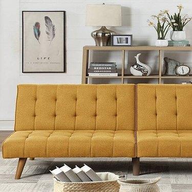 Mustard adjustable bed sofa