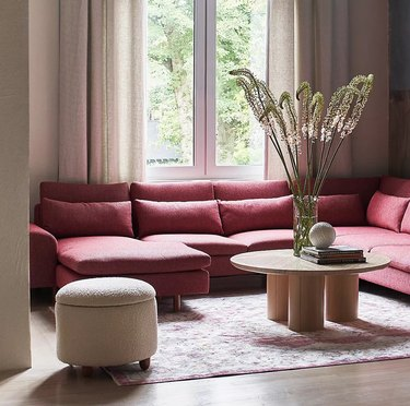 Living room with storage ottoman