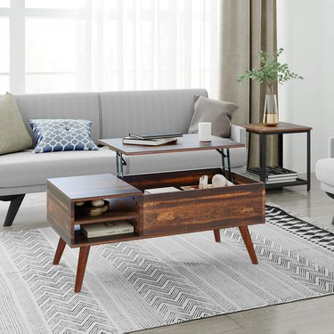 Wood midcentury rectangular coffee table with lift top