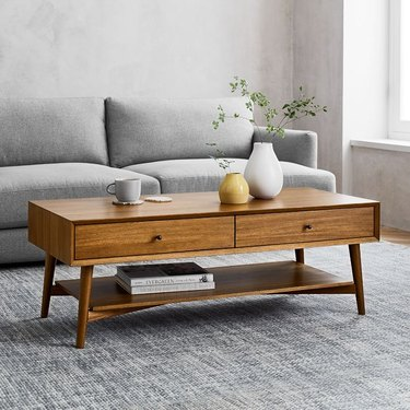 Midcentury-inspired coffee table, wood, with two drawers and bottom shelf