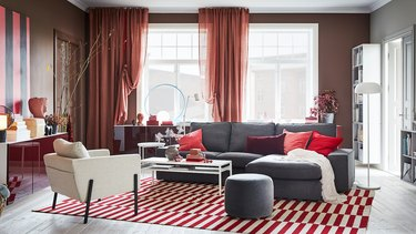 ikea living room graphic red and white area rug