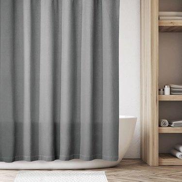 Grey shower curtain