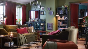 IKEA living room furniture green sofa set