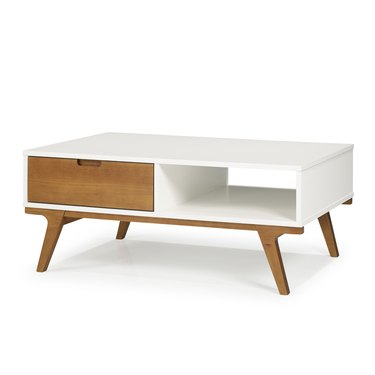 White midcentury rectangular coffee table with wood accents