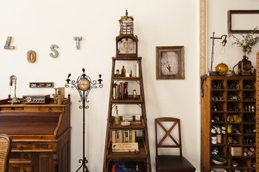 Vintage wood shelves and wiring desk and antique decor