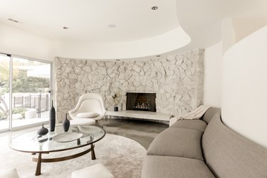 modern living room with rounded corners