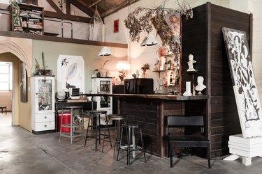 Bar and kitchen in industrial artist loft