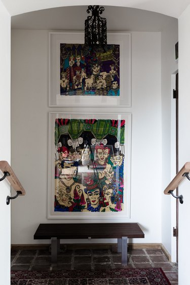 Hallway Gallery Wall Ideas with artwork and a bench