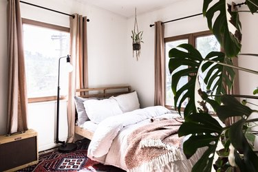 Bed in a bohemian bedroom