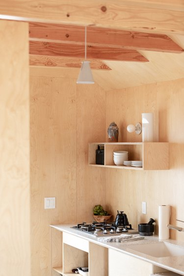 A minimalist wood-walled kitchen
