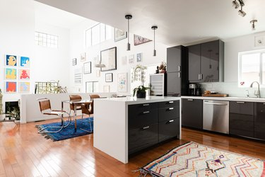 Modern loft with contemporary kitchen island