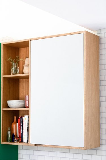 plywood and laminate cabinet with open and closed storage