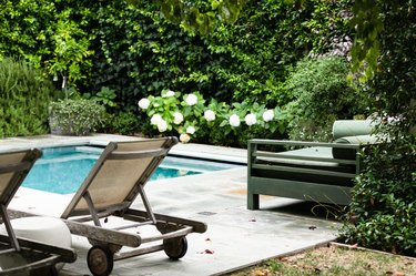 outdoor swimming pool in garden with pool lounge chairs