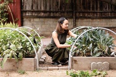 Woman tending to a garden outdoors