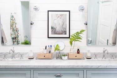 bathroom countertop with art