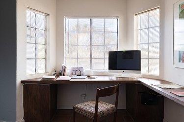 Corner desk set up in bay window with Home Office Desk Ideas