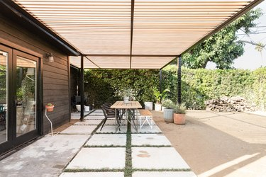 Backyard with table and chairs