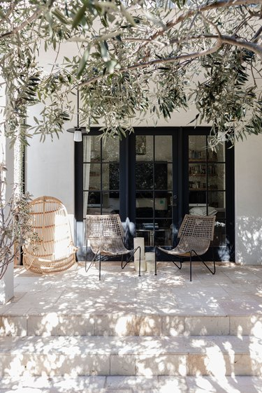 Wicker chairs on a porch