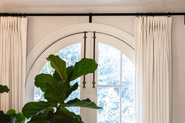 An arched window with white curtains and a tree plant