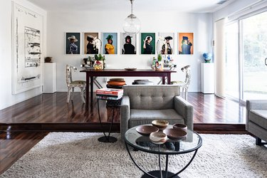 contemporary dining room with artwork on wall