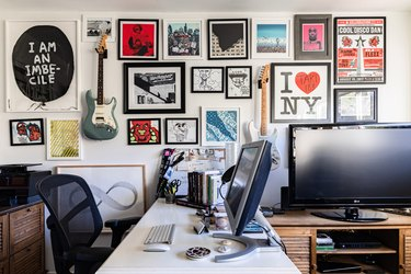 home office with gallery wall