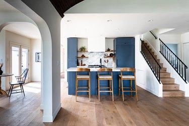 hardwood floor around kitchen and stairs