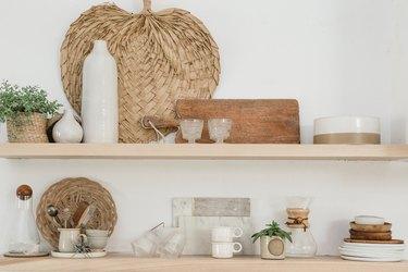 Open shelving with random boho decor