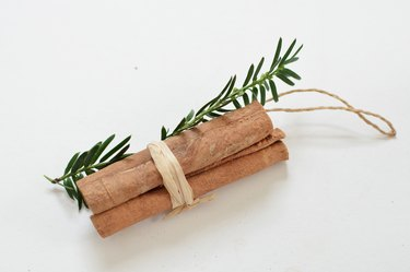 Ornament made from cinnamon sticks, wintergreen and twine