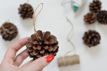 Hand holding a pinecone with twine