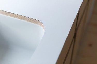 White corner of sink