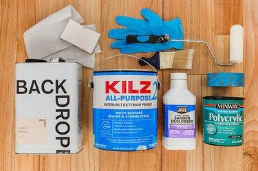 Latex gloves, all-purpose primer, Sander Deglosser, Polycrylic primer, paint brush, roller, microfiber towel, painters tape