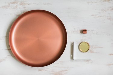 Round metal plate with cup pull