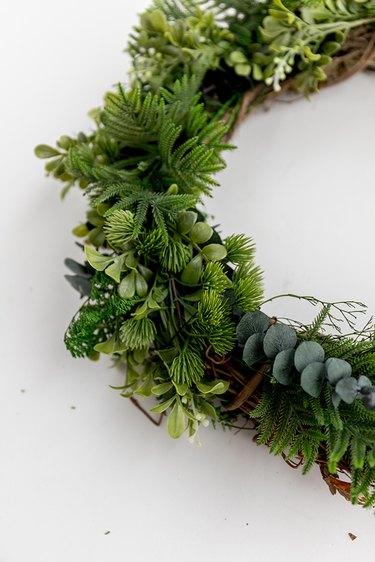 Faux evergreen Christmas wreath