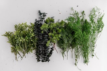 Lambs Ear, eucalyptus, boxwood, eucalyptus leaves, and pine needles