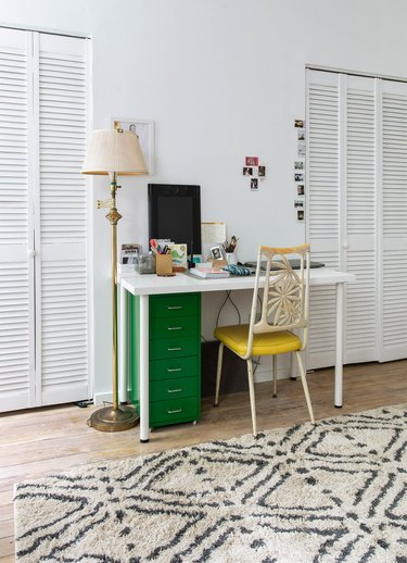 Green and yellow desk set up