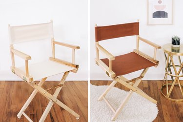 before and after pictures of a director's chair with worn panels and with a brand-new faux leather seat and back