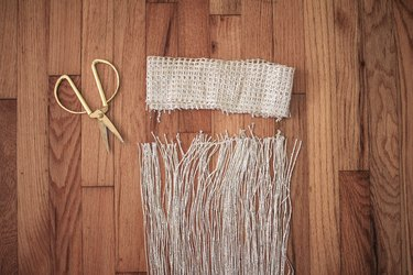 Gold scissors with curtain fringe