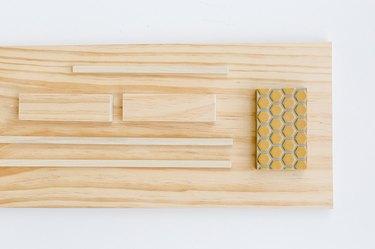 Wood board with sanding block